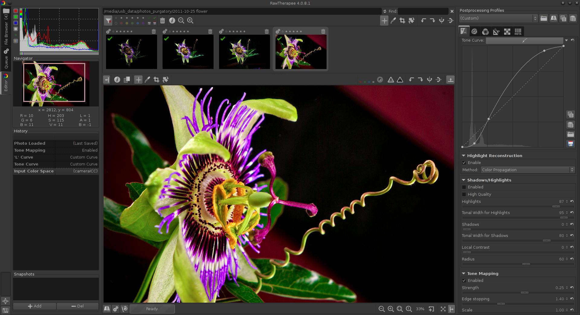 Rawtherapee поддерживает автоматическую обработку большого числа изображений (можно выбрать набор фотографий и выполнить для всех типовое действие), при обработке данных используются многопоточные алгоритмы что позволяет выполнять длительные операции